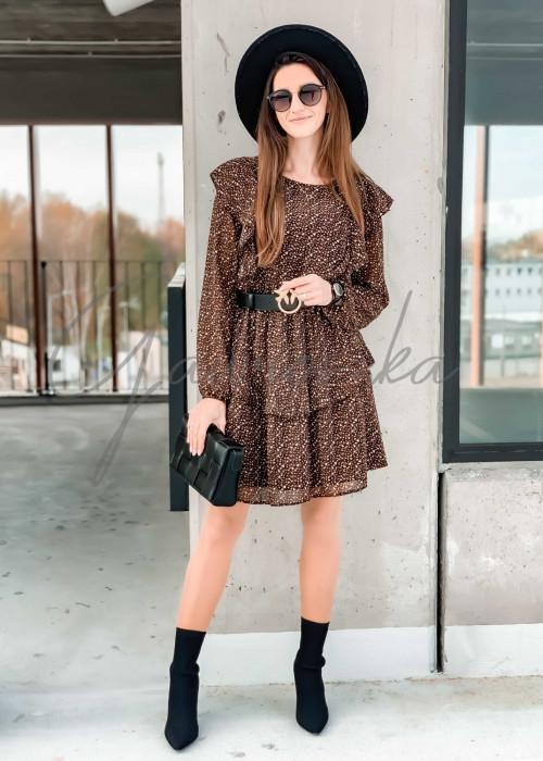 Sukienka Serca - czarno camelowa