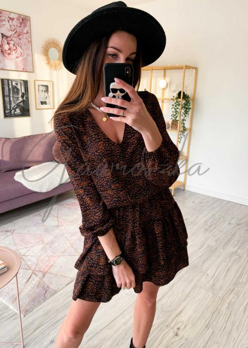 Sukienka nakrapiana - camel