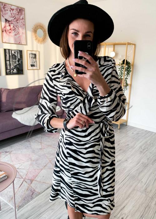 Sukienka na zakładkę - zebra biała
