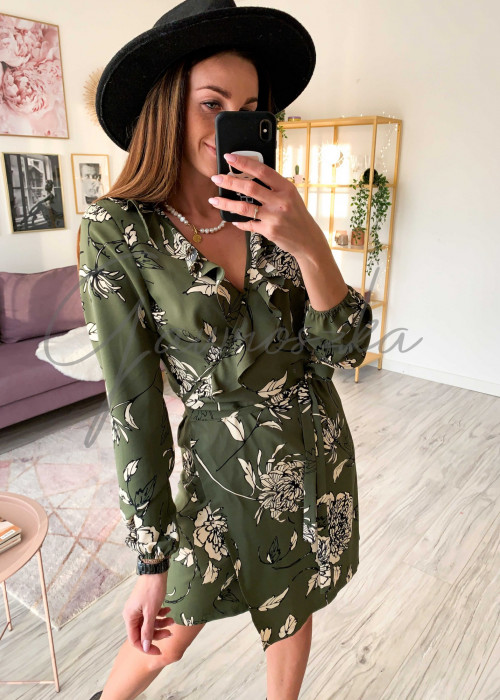 Sukienka na zakładkę - zielona