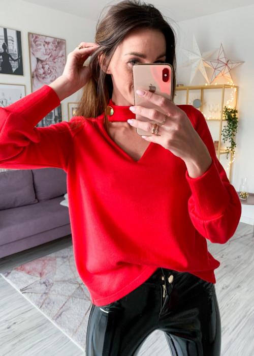 Sweter z hokerm na guzik - czerwony