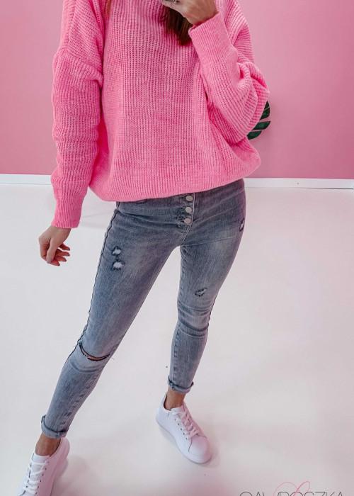 Spodnie jeans z guzikami - GREY
