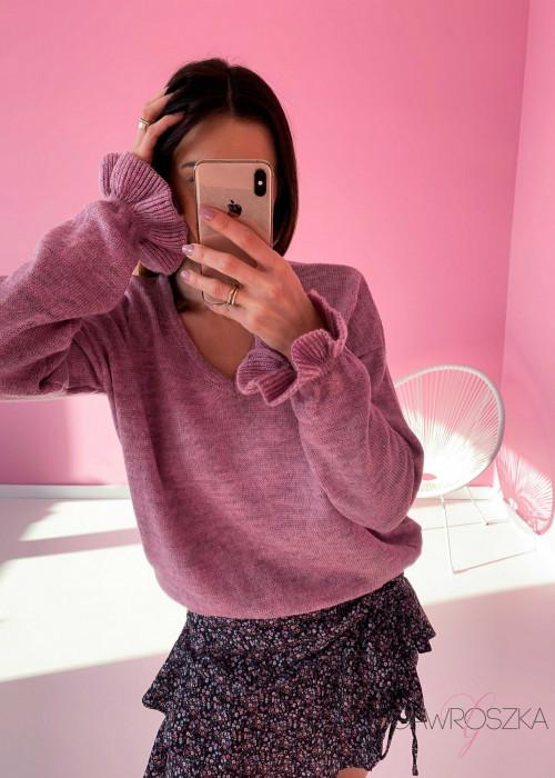 Sweter z falbanka na rękawie - wrzos