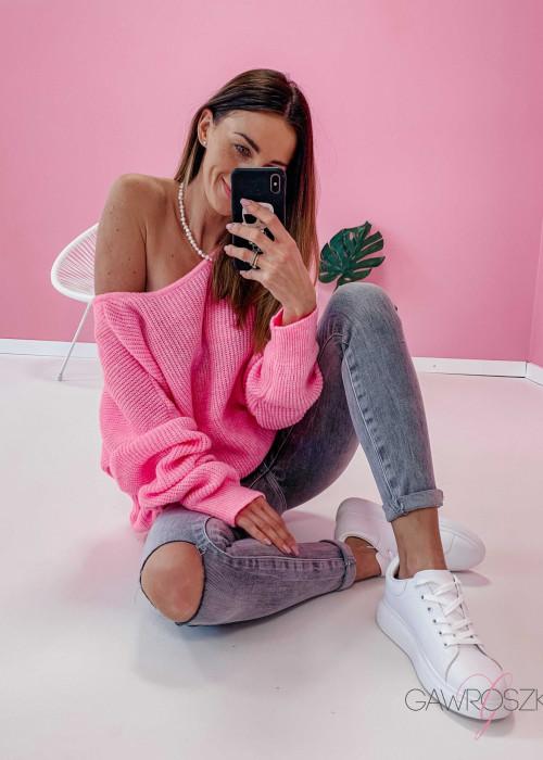 Sweter OVER V neck - cukierkowy róż