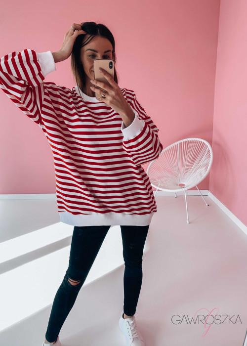 Bluza OVER STRIPES - czerwone paski
