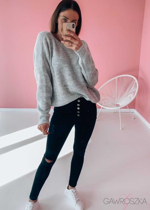 Sweter OVER V neck - szary