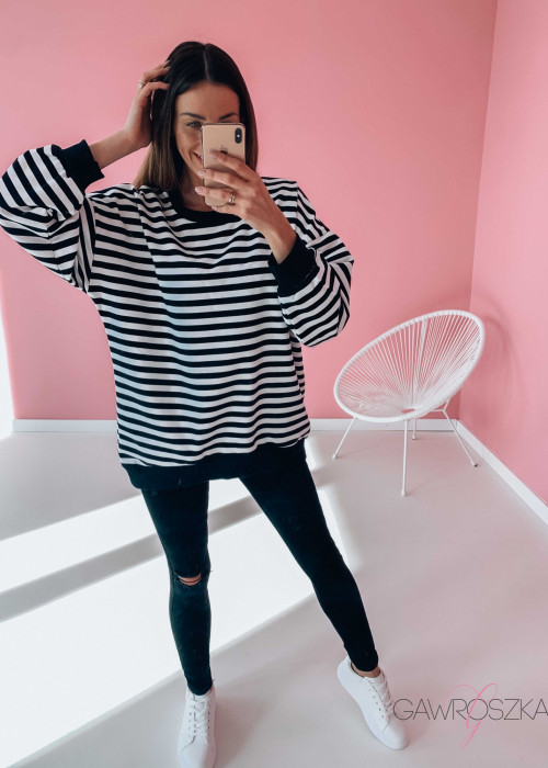 Bluza OVER STRIPES - czarne paski