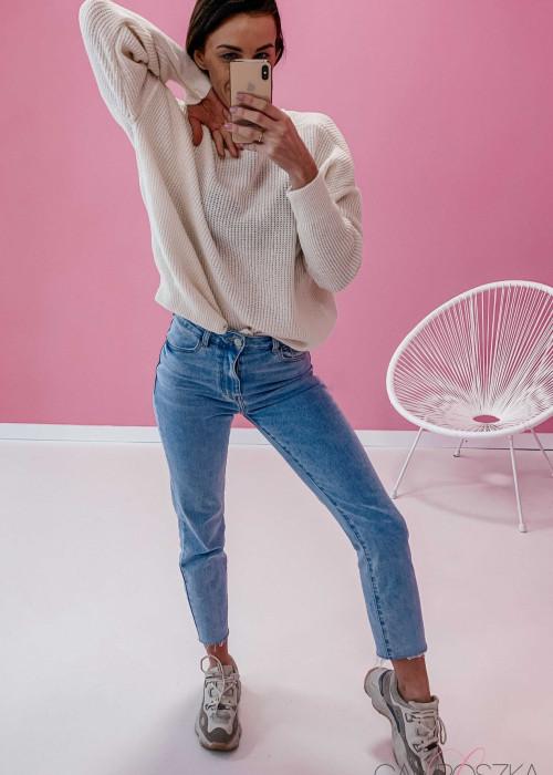 Sweter OVER V neck - śmietankowy