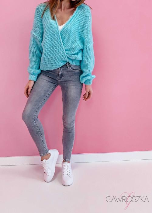 Spodnie jeans push up - szare