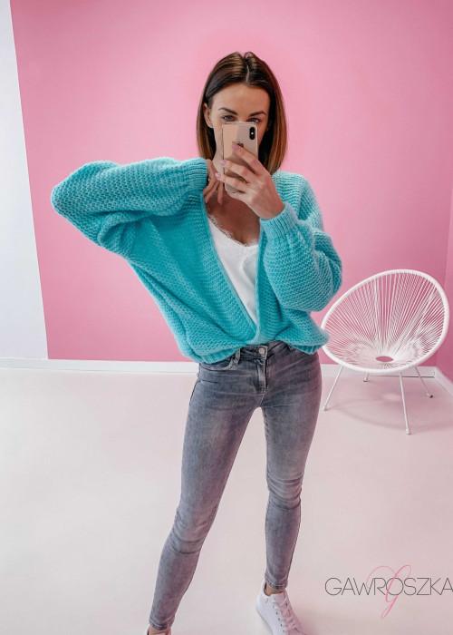 Sweter kardigan krótki - mięta