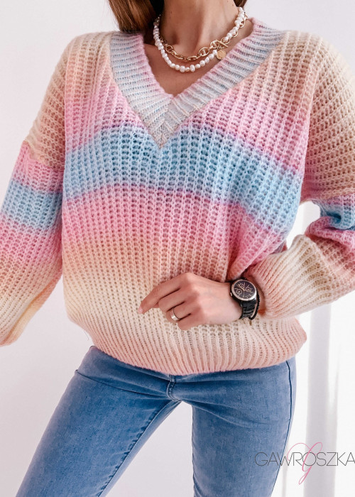 Sweter ombre - paslelowy
