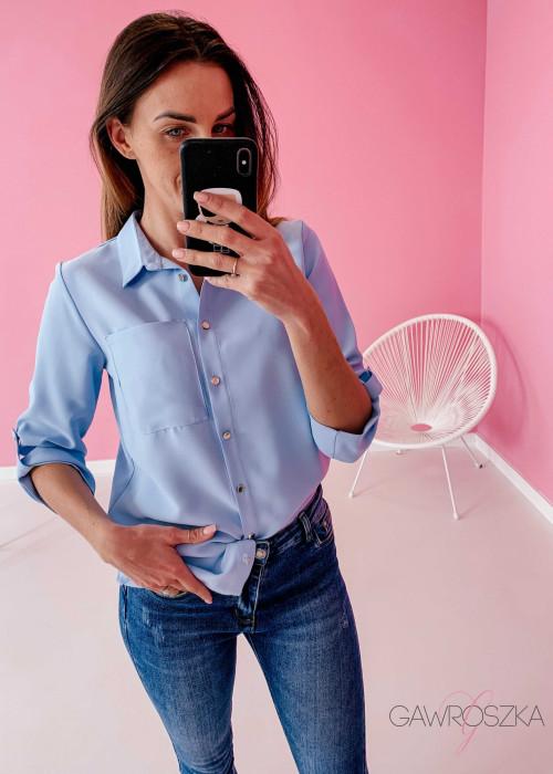 Koszula ze złotymi guzikami - błękitna