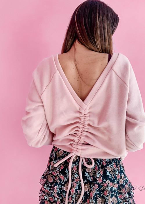 Sweter ze ściągaczem - pudrowy