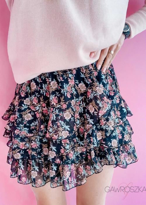 Spódnica szyfonowa - różowe kwiaty