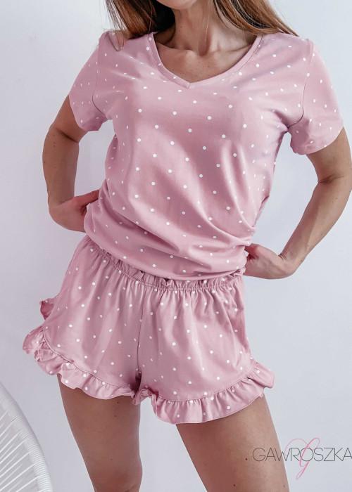 Piżamka Karla - różowa w białe groszki