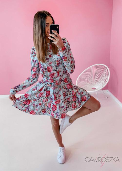 Sukienka Laura - miętowa w kwiaty