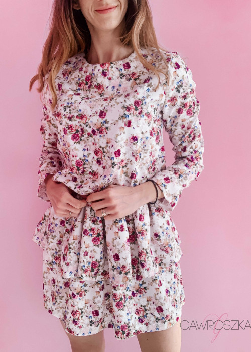 Sukienka Loe - ekri w róże