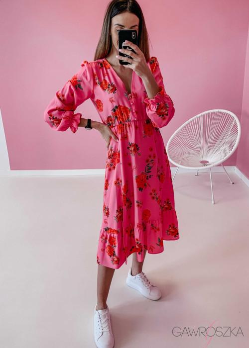 Sukienka Megi Midi Premium - różowa w róże