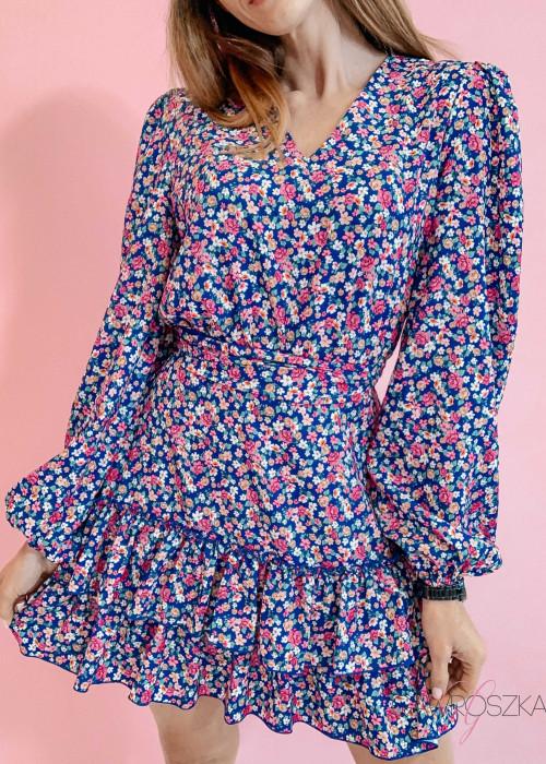 Sukienka Megi PREMIUM - niebieska w kwiaty