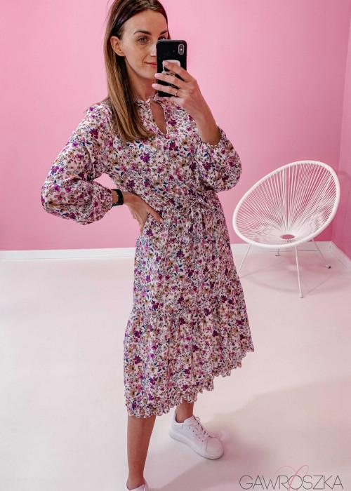 Sukienka Midi - fioletowe kwiaty