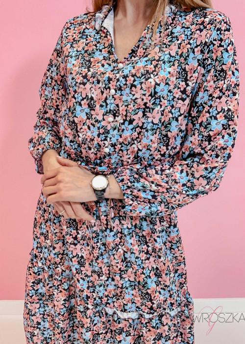 Sukienka Midi - różowo niebieskie kwiaty