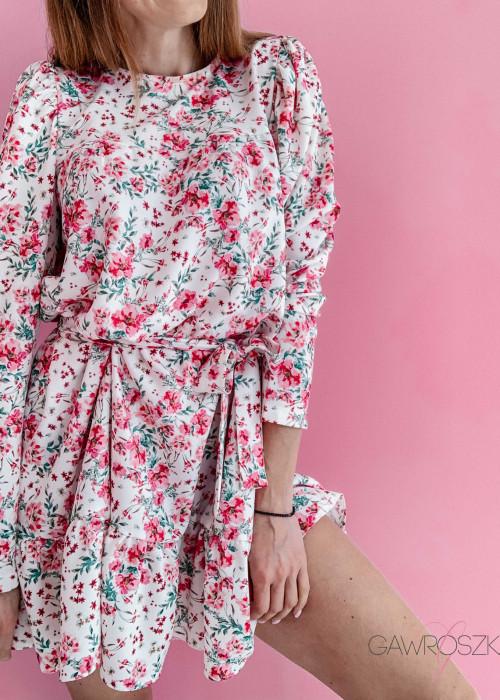 Sukienka Laura - ecru w malinowe wiaty