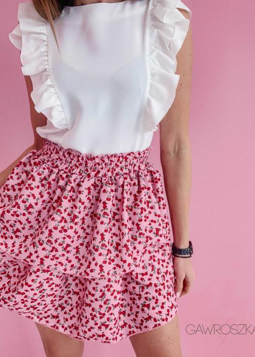 Spódnica z dwoma falbankami - różowa w róże