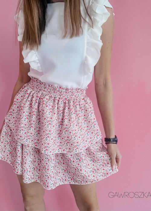 Spódnica z dwoma falbankami - biała w kwiatuszki