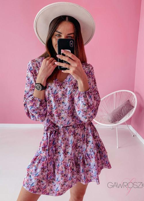 Sukienka z wiązaniem - pastelowe kwiaty