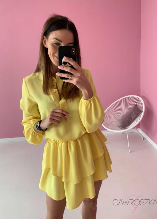 Sukienka z krótszymi bokami - żółta