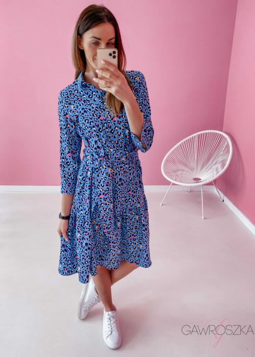 Sukienka w panterkę Mersi - niebieska