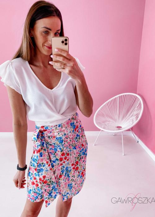 Spódnica wiązana - biała w kolorowe kwiatuszki