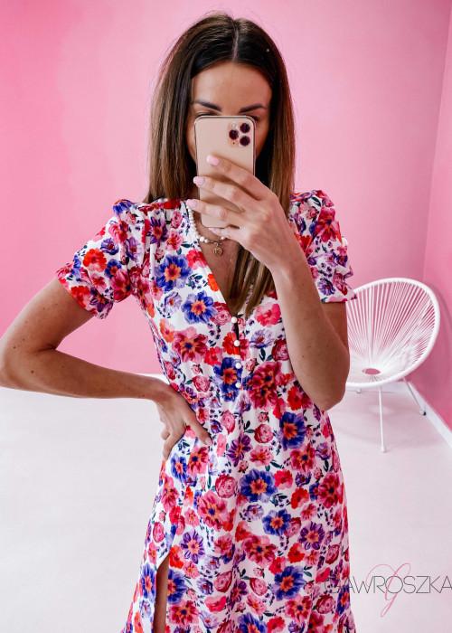 Sukienka Megi Midi Premium - wiosenne kwiaty