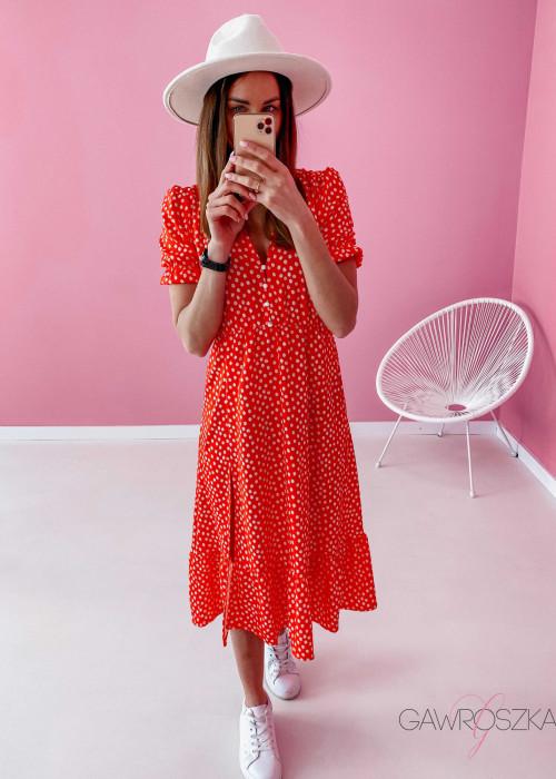 Sukienka Megi Midi Premium - czerwona w białe kwiatuszki
