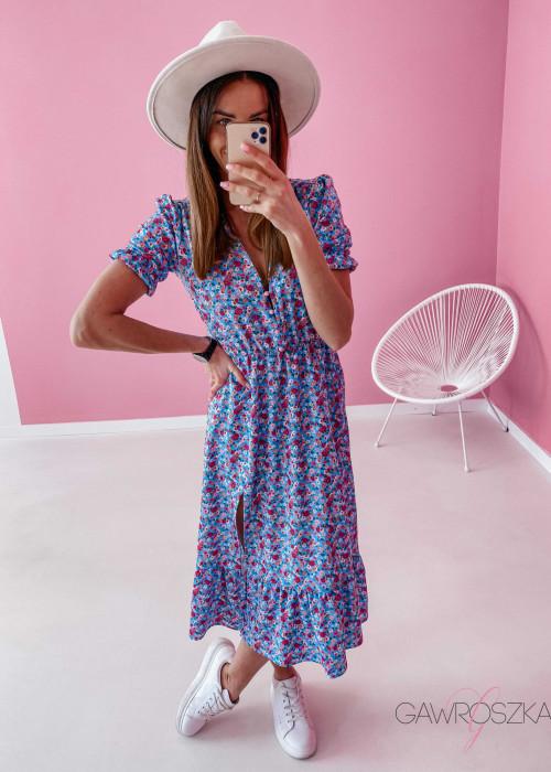 Sukienka Megi Midi Premium - błękitna w kwiatuszki