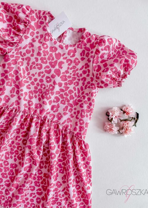 Sukienka dziewczęca - różowa panterka