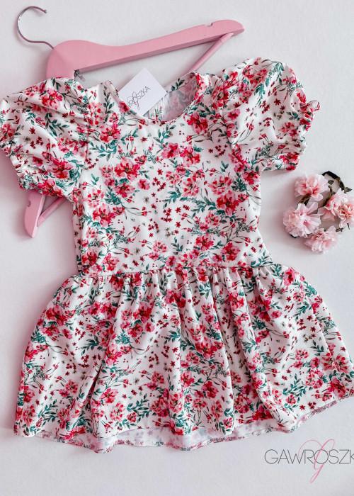 Sukienka dziewczęca - ecru w malinowe kwiaty