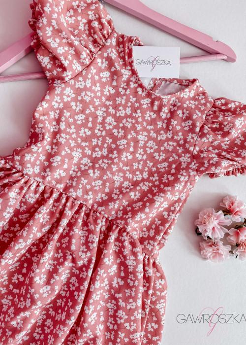 Sukienka dziewczęca - różowa w białe kwiatuszki
