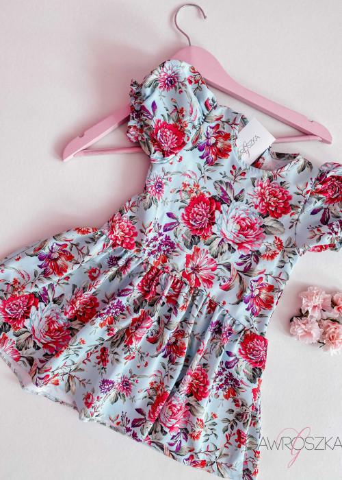 Sukienka dziewczęca - miętowa w kwiaty