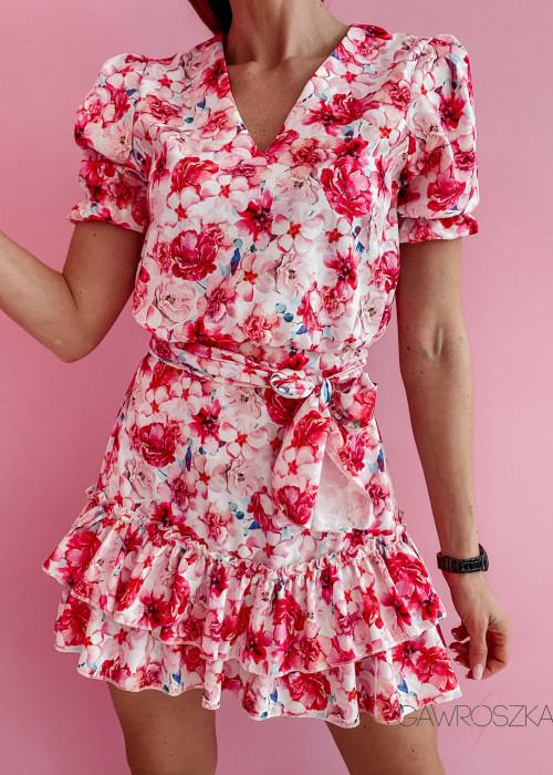 Sukienka Megi z krótkim rękawem - biała w różowe róże