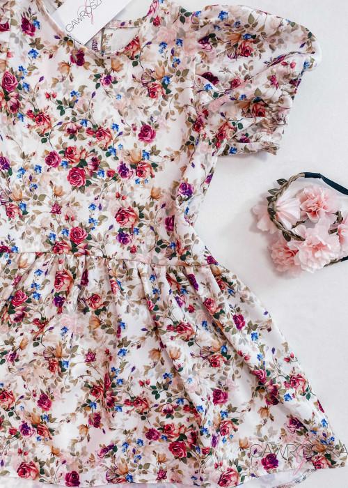 Sukienka dziewczęca - ekri w róże