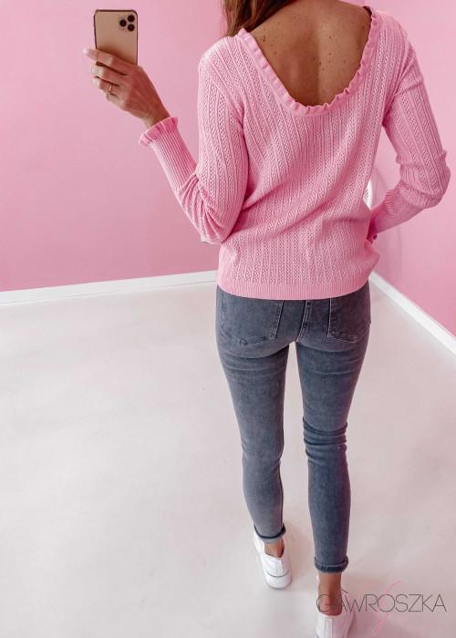 Sweter ażurowy - różowy