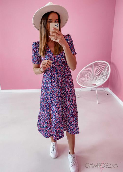 Sukienka Megi Midi Premium - granatowa w kwiaty