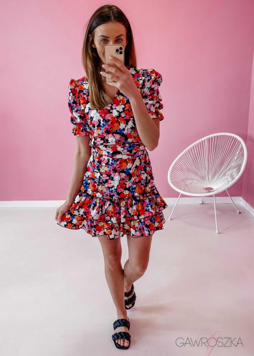 Sukienka Megi z krótkim rękawem - bratki