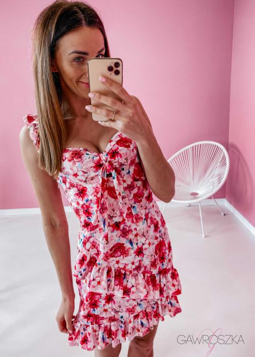 Sukienka Megi na ramiączkach - różowa w kwiaty