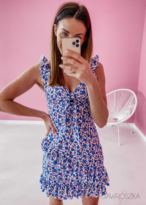 Sukienka Megi na ramiączkach - biała w niebieskie kwiaty
