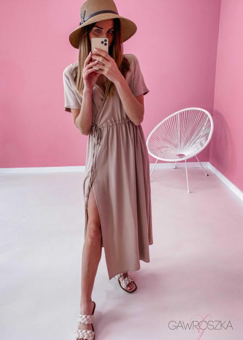 Sukienka Maxi z wiązaniem - beżowa