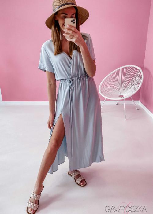Sukienka Maxi z wiązaniem - miętowa