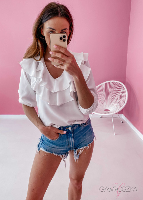 Bluzka z falbaną - biała