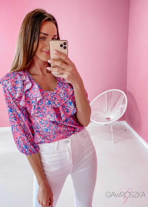 Bluzka z falbaną - różowo niebieskie kwiaty